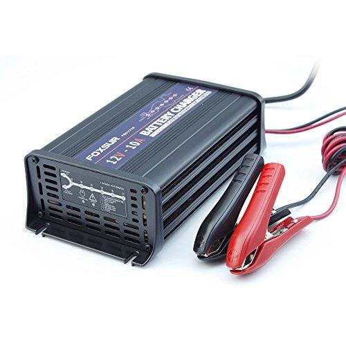 FOXSUR Caricabatteria intelligente a 7 fasi 12V 10A, caricabatterie batteria AGM umido al piombo, caricabatteria per auto, caricabatterie a impulsi in alluminio (12V 10A)