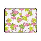 Fenicotteri rosa esotico uccello tropicale estate sciarpa modello portatile e pieghevole coperta stuoia 60x78 pollici pratico tappetino per campeggio picnic spiaggia interna da viaggio all'aperto