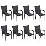 dasmöbelwerk 8er Set Polyrattan Sessel Stuhl stapelbar Rattan Gartenmöbel schwarz Palermo Stapelstuhl