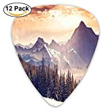 Evening Winter Landscape With Dramatic Surreal Overcast Sky And Majestic Mountains Decorative Guitar Picks 12/Pack