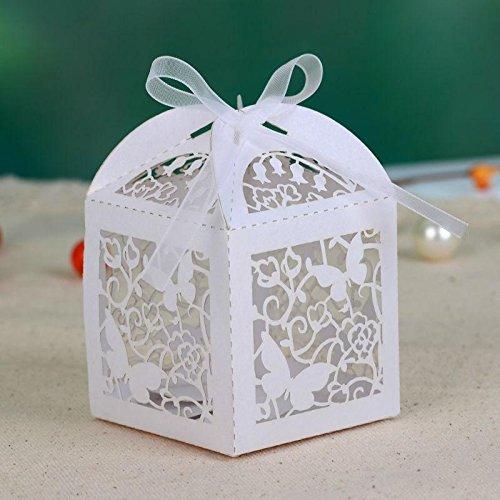 20x scatole portaconfetti farfalla matrimonio tagliato con laser (nastro compreso)