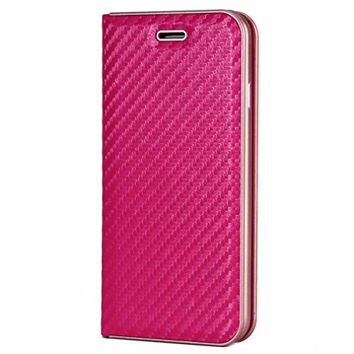 Fischschuppenmuster Neu Hochwertige Kohlefaser automatische Saug-Schnalle Hülle Case ,TPU + Leder Cover Full Body Schutz fürapple iphone 6 Marineblau Rose
