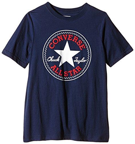 Converse Jungen T-Shirt Chuck Patch Blau Navy/Red Print, Small (Herstellergröße: 8-10Y)