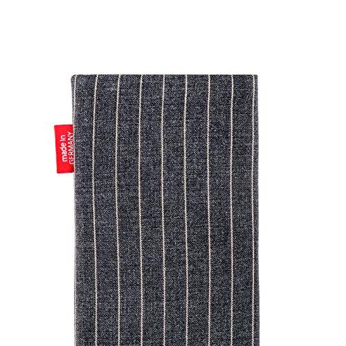 fitBAG Rave Smaragd Handytasche Tasche aus Textil-Stoff mit Microfaserinnenfutter für Apple iPhone 6 / 6S / 7 mit Apple Silikon Case Twist Grau