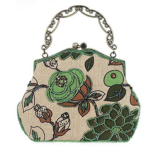 Rinalay Handtaschen Damen Vintage Perlen Clutche Handtasche Abendtasche Dinner Party Geldbörse Mode Living 23 X 22.5Cm Handtasche Lady Abend Schöne Trendy Edles Clutch Bag