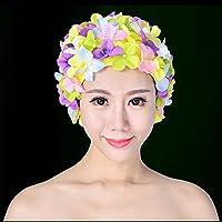 WINOMO Schwimm Kappe Floral Blütenblatt Stilvolle Schwimmen Hut Badekappen für Frauen Größe L