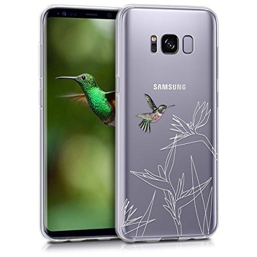 kwmobile Samsung Galaxy S8 Hülle - Handyhülle für Samsung Galaxy S8 - Handy Case in Kolibri Blume Design Pink Weiß Transparent