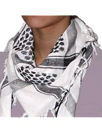 niki-orange® Pali Schal Dot, Tuch, Palästinenserschal, Arafat, in Weiß/Schwarz