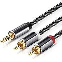 Cinch auf Klinke Kabel 2M,Victeck 3.5mm Klinke auf 2 Cinch Y Splitter Stereo Audio Kabel, Nylon Geflochten Klinkenkabel,Vergoldet Metall Stecker