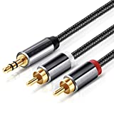 Cinch Kabel,Victeck 3,5mm Klinke auf 2 cinch Y Splitter Stereo Audio Kabel, 5M Nylon Geflochten Kabel,Vergoldet Metall Stecker