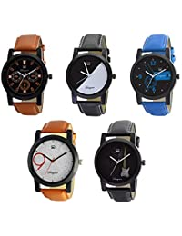 Om Designer Combo of 5 Analogue Multi Color Dial Men's & Boy's Watch -Omi-Wtc0241