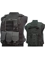 Tactical C2MPS SAPI combate chaleco revista bolsa Airsoft painitball negro