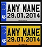 Coolrideplates® Little Tikes Cozy Coupe Kids 90X50mm Personalised Rear Date of Birth Number Plate Self-Adhesive Stickers *SIMPLY ADD A GIFT MESSAGE WITH THE NAME, COLOUR COMBO, AND DOB REQUIRED WHEN ORDERING*