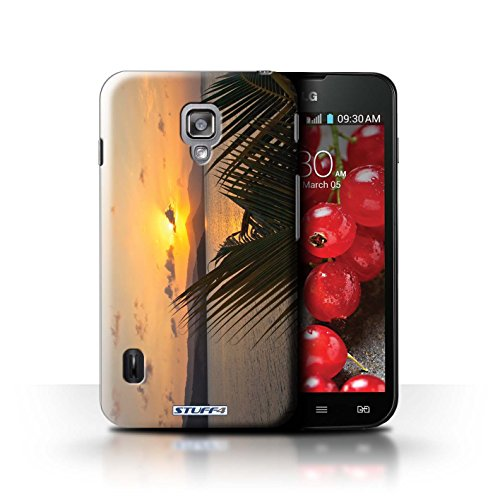 Kobalt® Imprimé Etui / Coque pour LG Optimus L7 II Dual / Chaîne de montagne conception / Série Coucher du Soleil palmiers