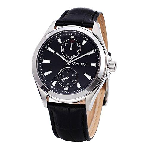 Herren Armbanduhr Schwarz Zifferblatt Chronograph Schwarz Leder Tag Datum Fashion Uhren