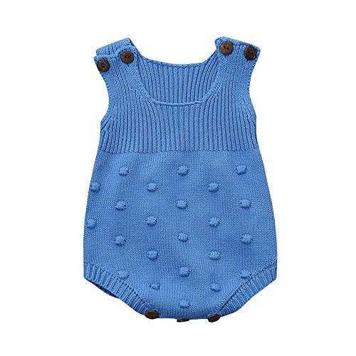 Preisvergleich Produktbild Baby Mädchen Strampler Weste Babybekleidung Kinderkleidung Loveso Pyjama Jungen Mädchen Bekleidung Kintted Vest Einfarbig (6~18M) (6M, Blau)