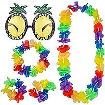 Gafas de Sol de Piña y 4 Piezas Guirnalda Hawaiana Collar Floral Pulsera Diadema para Accesorios de Fiesta de Playa