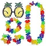 Lunettes de Soleil Ananas et 4 Pièces Collier de Fleurs Hawaiian Leis Garland Bracelets Bandeau Headband Robe de Fantaisie Partie