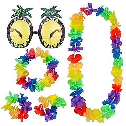 Shappy Ananas Sonnenbrille und 4 Stück Hawaiianische Leis Blumen Girlanden Halskette Armbänder Stirnband für Beach Party (Hawaiianische Ananas)