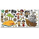 Wandkings Piraten auf Schatzsuche Wandsticker XL Set, 48 Aufkleber, Gesamtfläche 130 x 70 cm