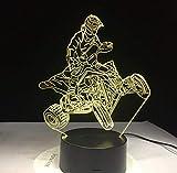 Montagne À Quatre Roues Moto 7 Couleurs Lumière Pour Décoration De La Maison Lampe Visualización Optique Lumière 3D Led Veilleuse Dynamique