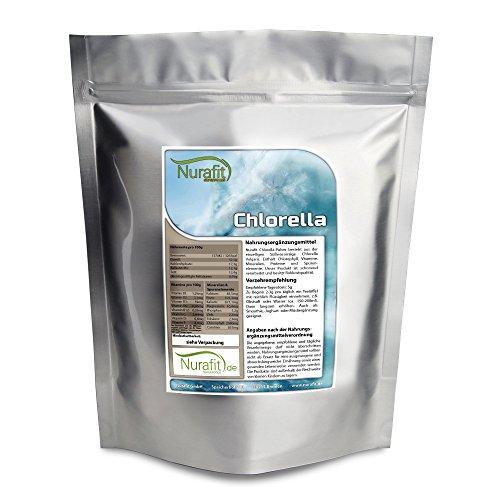 Nurafit Chlorella Pulver | 1000g / 1kg | Natürliches Algen Superfood | enthält Mineralien und Vitamine | Green-Smoothie Pulver | Rohkostqualität vegan