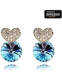 18 K Rose chapado en oro verdadero diamante de Austria pendientes, elegante cristales azules de cristales Swarovski y atractivos mujeres moda pendientes joyería