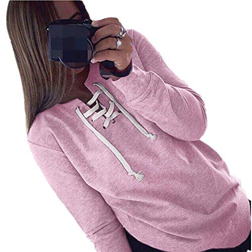 WOCACHI Damen Frauen Herbst Langarm Pullover Lace up Tops Blusen beiläufige Sport T-Shirt (S, Rosa)