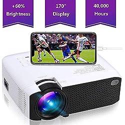 ZUHN Mini Projecteur Portatif Projecteur À Del De 1 800 Po, 1280X720p, 180 Po, Projecteur De Lecteur Multimédia À Domicile ACL Prenant en Charge Le Port D'entrée 1080P HDMI/VGA/AV/USB/Micro SD
