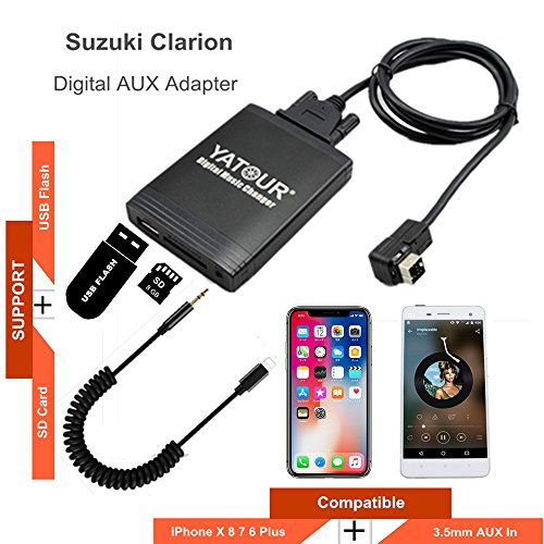 Clarion iPhone Stereo Aux Adapter, KFZ Digital Audio-Eingang Interface mit SD-Karte, iPod MP3 USB, 3,5 mm AUX IN, Lightning Musik Player für ce-net - Ipod Touch-wechsler