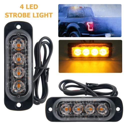 MASO 2pcs 4 LED 4W Ambre Voiture Lampe Camion Attention Urgence Clignotant Strobe Lumière