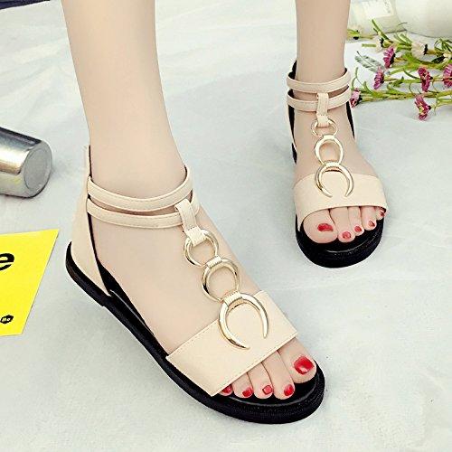 RUGAI-UE Semplice sandali estivi Calzature Donna rotonda piatta scarpe della fibbia Beige