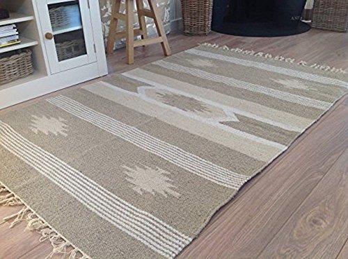 Segunda naturaleza mano tejidas Yute y algodón diseño geométrico alfombra 90cm x 150cm
