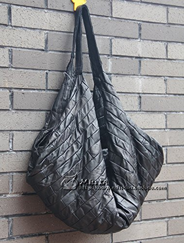 Sac en cuir en cuir de mode Joker grande diagonale sac épaule unique de loisirs mobile Black super soft Sheepskin