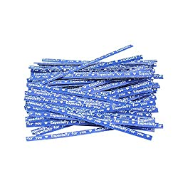 Blue : Pinzhi 100 Pcs Paper Twist Ties for Party Wedding Cello Candy Gift Bags Wrapping (Blue Words)