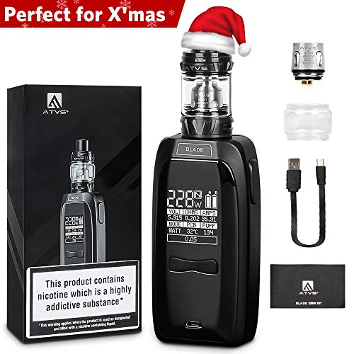 B5 E Zigarette/E Shisha 228W Vape Mod Box Set,Elektronische Zigaretten mit 2,0ml Top Refill Verdampfer,0,15Ohm Verdampferköpfe,LED-Schirm-Anzeige, 0,0mg Nikotin, ohne 18650 Batterie, Farbe in schwarz