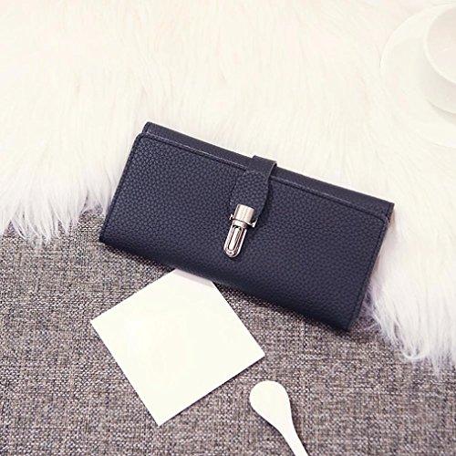 Reasoncool 2017 Moda Donne Blocco Fibbia borsa della moneta del raccoglitore lungo i supporti di carta borsa (Blu) Nero