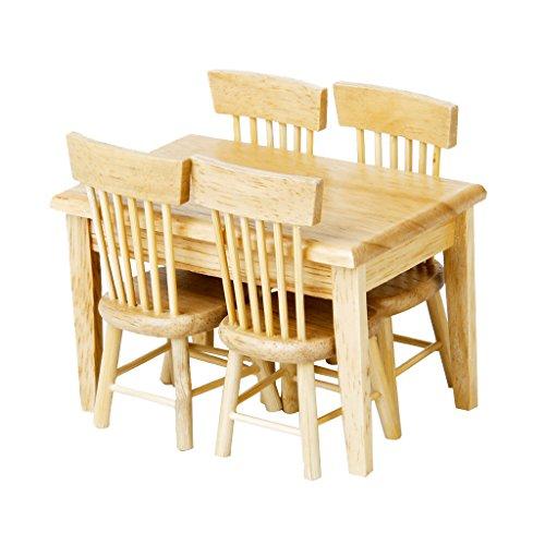 5 Stück Esstisch Stuhl Modell Set Puppenhaus Miniatur Möbel aus Holz 1/12 - Miniaturen Puppenhaus Möbel