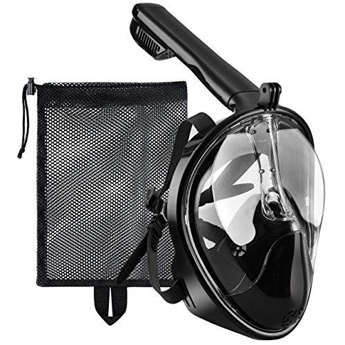 Tauchmaske, OMorc Seaview 180 Grad Blickfeld GoPro Kamera Halterung Kompatible Schnorchelmaske für Erwachsene und Kinder - Panoramavolles Gesichtsdesign mit Anti-Fog und Anti-Leck-Technologie, sehen mehr Wasserwelt mit größerer Sichtfläche, verhindert Gag Reflex mit Tubeless Design