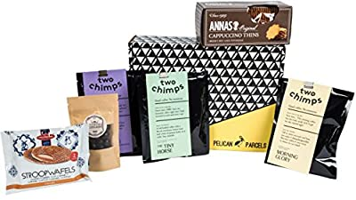 Coffee Gift Box - Two Chimps Coffee, Dark Chocolate Coated Coffee Beans, Anna's Cappuccino Thins, Daelmans Stroopwafels - Hamper Exclusive To Pelican Parcels by Pelican Parcels