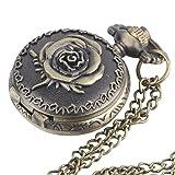 81stgeneration Reloj en Latón Pequeño de Bolsillo Collar Colgante con Cadena Larga Vintage Flor Rosa