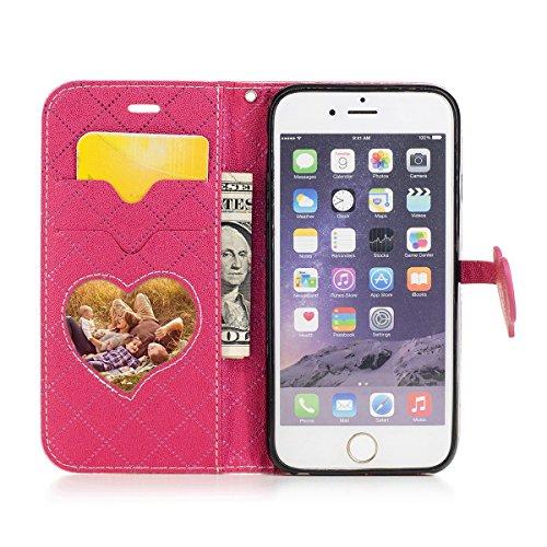 iPhone 6s Hülle, iPhone 6 Hülle, Lifetrut Grid & Heart Entworfen Magnetische Schützende Leder Flip Stand Brieftasche Hülle Case für iPhone 6s 6 [Lila] E205-Lila