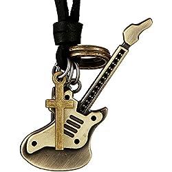 DonDon Ensemble pour homme comprenant 1 collier en cuir noir et 1 pendentif argenté en forme de guitare électrique Pochette en velours incluse