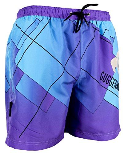 GUGGEN Mountain Herren Badeshorts Beachshorts Boardshorts Badehose Schwimmhose Männer mit Muster Print* Lila Blau XXL