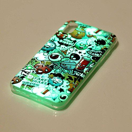 Cover Custodia la iPhone X / iPhone 10 silicone,Vandot 3D Creativo Cute Cartoon Animale Bulldog Copertura Elegante e Leggera Custodia Ultra Slim Modello TPU Gel Silicone flessibile Protettivo Skin Pro Luminous 1