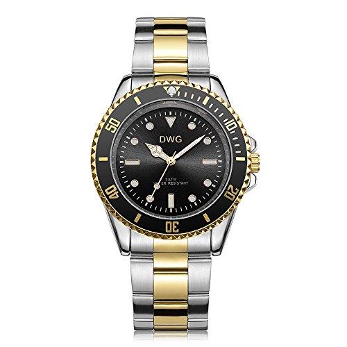 Gold-silber-uhr-band (DWG Herren Quarz Luxus Uhr Edelstahl Band Analog Display und wasserdicht Business Fashion Armbanduhren)