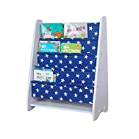 Kids Book Rack Storage Bookshelf Toy Sling Book Rack (white/dark blue)
