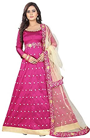 Globalia Creation Women's Wine Embroidered Long Anarkali Gown/Salwar Suit