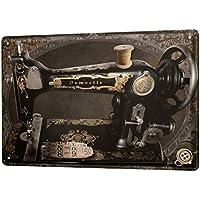 Cartel Letrero de Chapa XXL Diversíon máquina de coser Oldschool