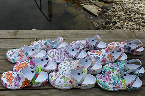 Gartenschuhe Dynamic Damen superleicht Hausschuhe Fashion Design Clogs Schlappen Badeschuhe Gummi Gartenclogs Clocks Bunt (Muster)